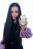 Fille avec téléphone portable — Photo