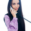 Girl with wire phone — Stock Photo