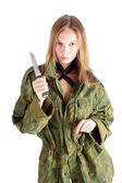 Woman with knife on white — Stock Photo