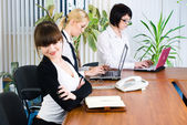 Meeting of young business ladies — Stock Photo