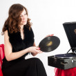 Beautiful womwith gramophone, — Stock Photo #5963370