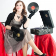Stock Photo: Beautiful womwith gramophone,