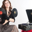 Beautiful womwith gramophone, — Stock Photo #5971889
