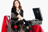 Beautiful woman with gramophone, — Stock Photo