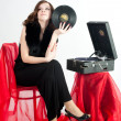 Beautiful womwith gramophone, — Stock Photo #5999820