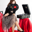 Beautiful womwith gramophone, — Stock Photo #6015181