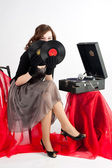Beautiful woman with gramophone, — Stock Photo