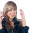 Crossed fingers gesture — Stock Photo