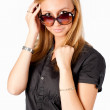 Portrait of a beautiful woman with spectacles - Stock Photo