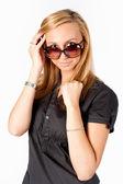 Portret van een mooie vrouw met bril — Stockfoto
