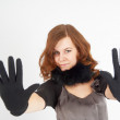 Pretty woman showing stop gesture — Stock Photo