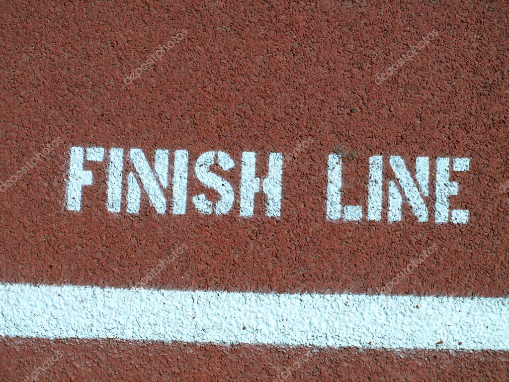 Finish line - sign on the running track  — Stock Photo #6177906
