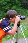 Young photographer — Stock fotografie