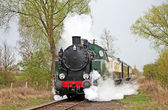 Steam train slowing — Stock Photo