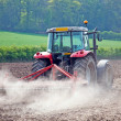 Spring tractor, field prep — Stock Photo