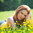 Stock Photo: Relaxing in flowers