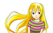 Teen blonde anime girl — Stock Photo