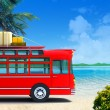 Red bus adventure on beach — Stok fotoğraf