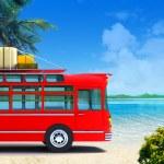 Красный автобус приключения на пляже — Стоковое фото