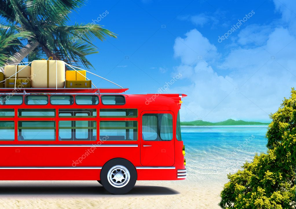 Red retro bus against the backdrop of beach — Stock Photo #6406551