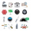 Car parts and icons — Stock Vector