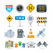 Road and car icon set — Stock Vector #5776334