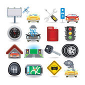 Car icon set — Stok Vektör