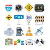 Road and car icon set — Stock Vector