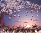 Enchanted nature series - cherry blossom garden — Stock Photo