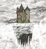 Fantasy castle over the clouds — Stock Photo