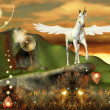 Unicorn over an hill — Stock Photo