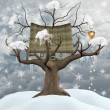 Winter treehouse illustration — Stock Photo