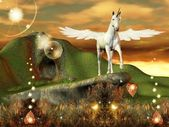 Unicorn over an hill — Stock Photo
