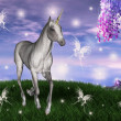 Royalty-Free Stock Photo: Unicorn in an enchanted meadow