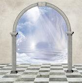 The world through the door — Stock Photo