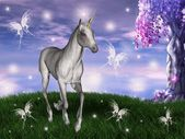 Unicorn in an enchanted meadow — 图库照片