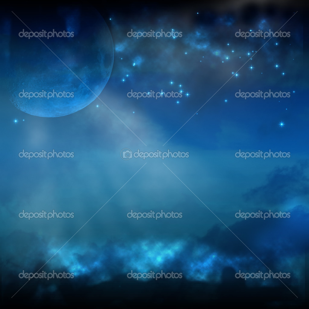 A Night Sky with Moon and Stars — Stock Photo #5704906