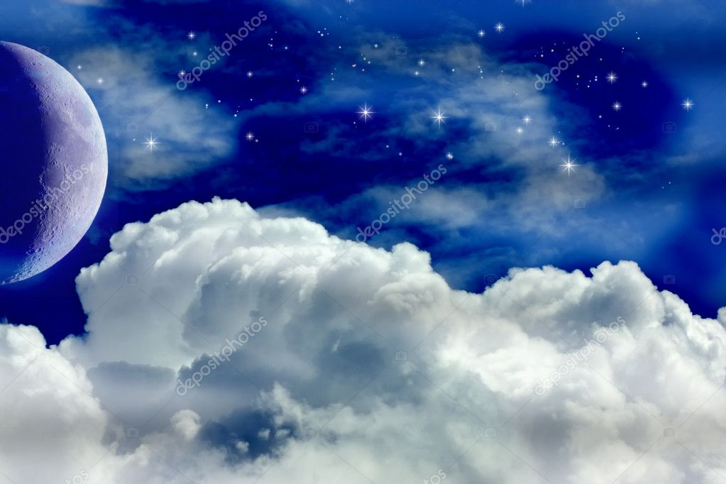 A Night Sky with Moon and Stars — Foto de Stock   #5704912