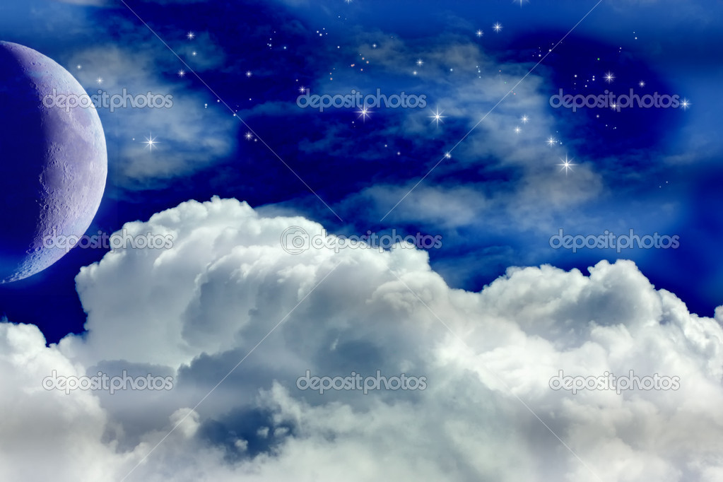 A Night Sky with Moon and Stars — Stockfoto #5704912