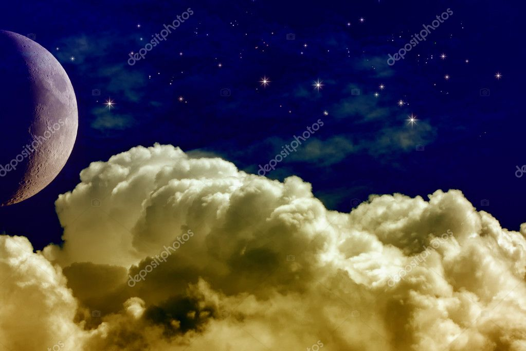 A Night Sky with Moon and Stars — Stock Photo #6442183