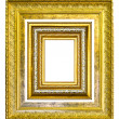 Stock Photo: Golden wood picture image frame isolated on white background