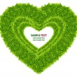 Stock Photo: Green grass love heart frame isolated