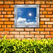 White picture frame on Brick wall — Foto Stock