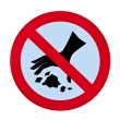 No throwing garbage warning sign — Stock Photo