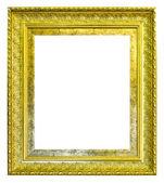 Gouden hout foto afbeeldingsframe geïsoleerd op witte achtergrond — Stockfoto