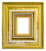 Golden wood picture image frame isolated on white background — Stock Photo