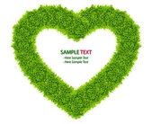 Izole yeşil çim aşk kalpli çerçeve — Stok fotoğraf