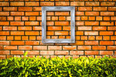 White picture frame on Brick wall — Stockfoto