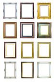 Collection of ancient style wood photo image frame isolated — Stock Photo
