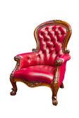 孤立的豪华红色真皮扶手椅 — 图库照片
